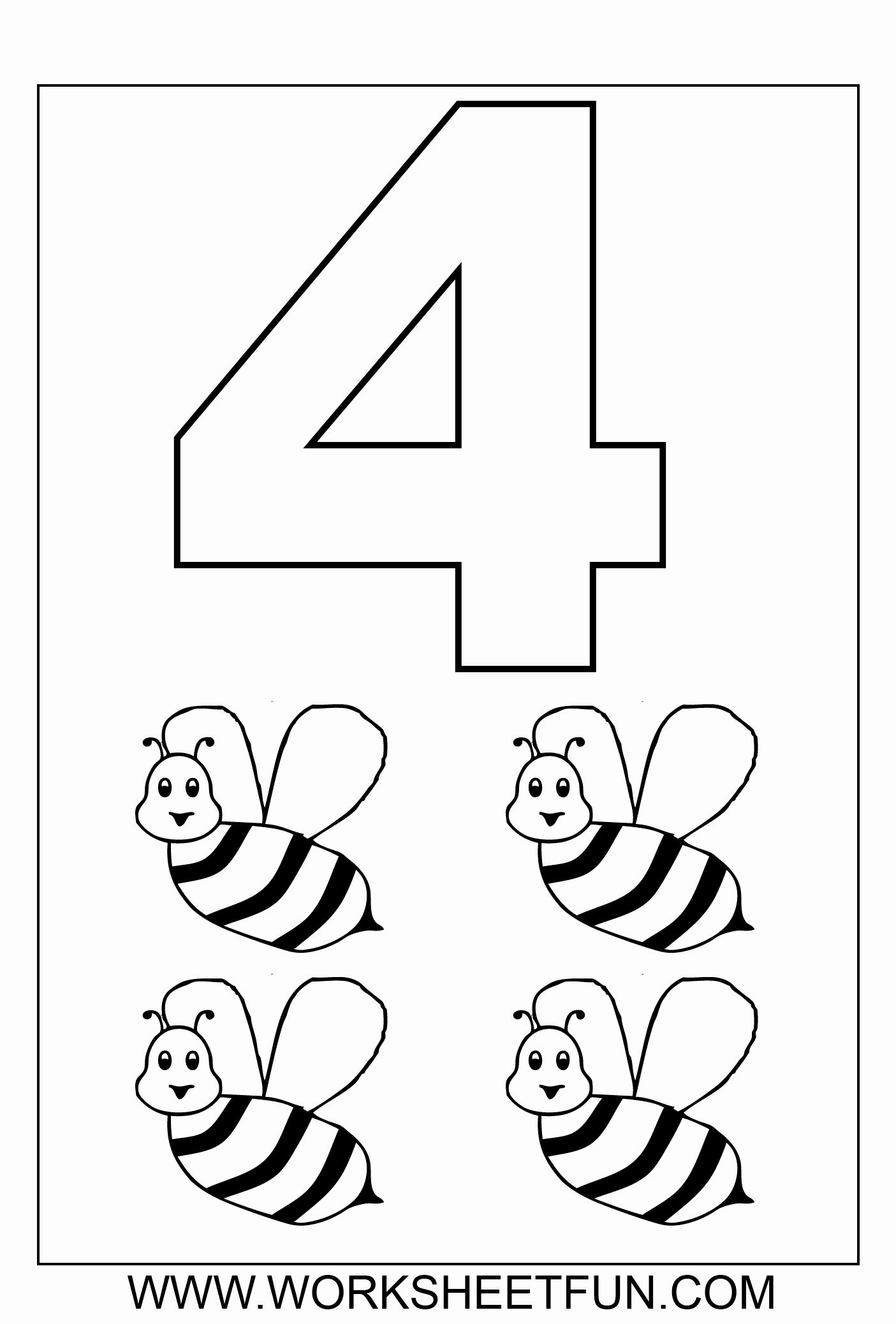 Number Coloring Worksheets For Kindergarten In