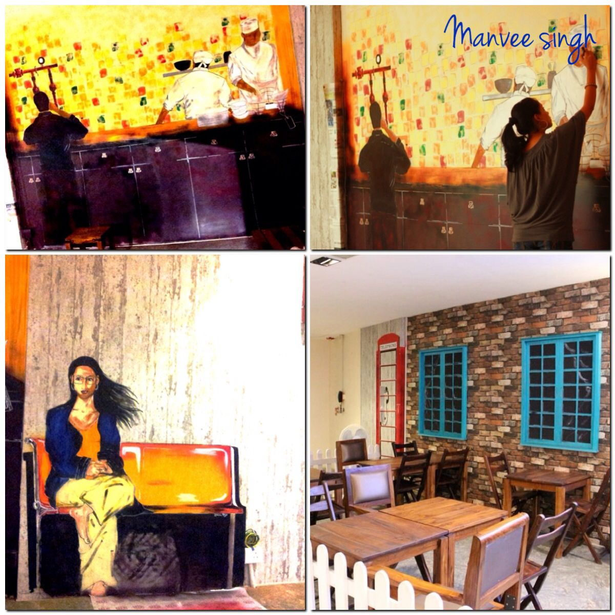 Wall art cafe Delhi heights artcraftpaintingsacrylicbohemian