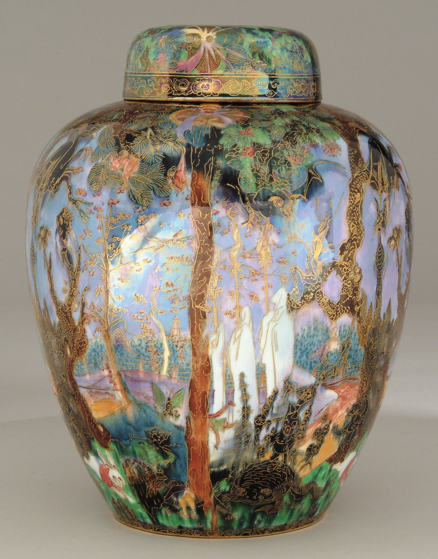 Rare wedgwood fairyland lustre ghostly woods malfrey pot wedgewood fairyland lustre demon tree vase showing menacing creatures hanging out in the large black trees this is one of the more valuable wedgwood reviewsmspy