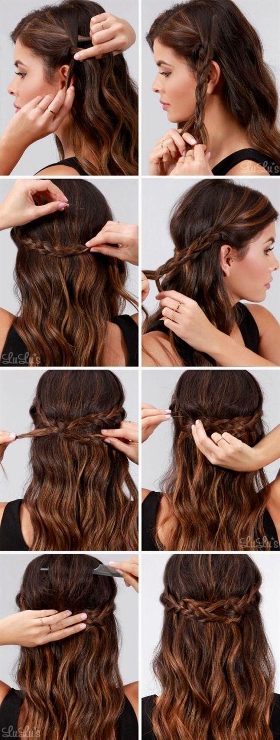 schnelle einfache formale party-frisuren für lange haar