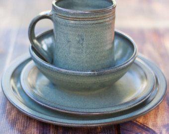 Gray Stoneware Dinnerware Set-- 4 piece Pottery Dinnerware Set Ceramic Stoneware Dishes - Stoneware & Gray Stoneware Dinnerware Set-- 4 piece Pottery Dinnerware Set ...