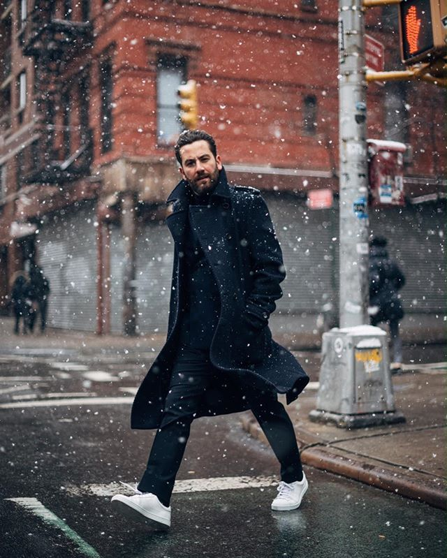 Braving the snow and getting ready for the @hugoboss menswear show this evening! Tune in! #ThisisBOSS #NYFWM ph. @realjcreel
