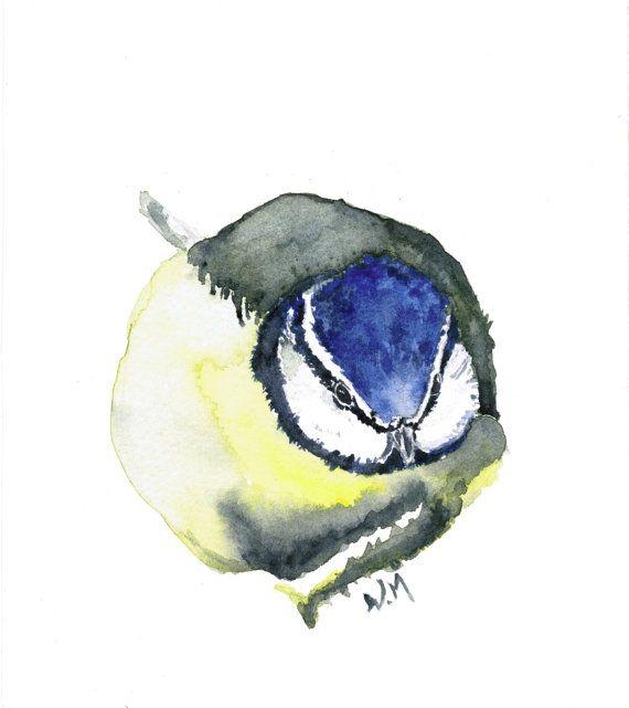 Original water-colour painting Blue tit by natureofwatercolour