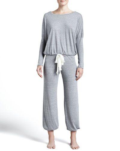 I0CV0 Eberjey Slouchy Drawstring Pants, Gray Heather