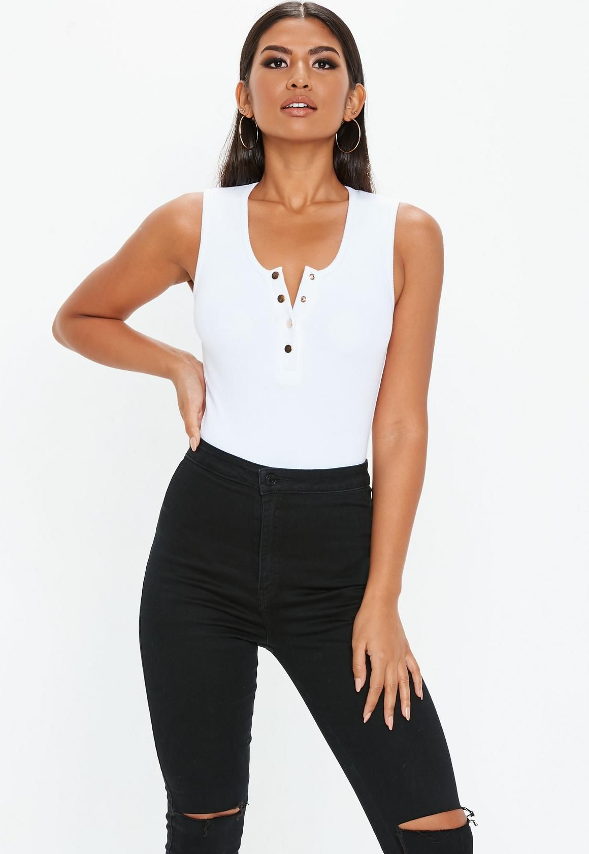 e01891d5793b White Ribbed Popper Front Bodysuit in 2019 | Summer outfits | Tops ...