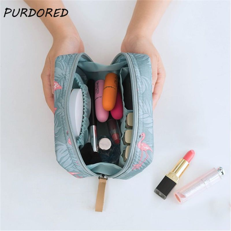 Purdored 1 Pc Flamingo Cosmetic Bag Women Necessaire Make Up Bag Travel Waterproof Portable Toiletry Makeup Case Dropshipping Makeup Bag Cosmetic Bag Toiletry Storage
