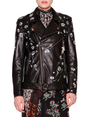 W0dz8 Etro Hand Painted Leather Biker Jacket Black Multi Genuine Leather Jackets Studded Leather Jacket Leather