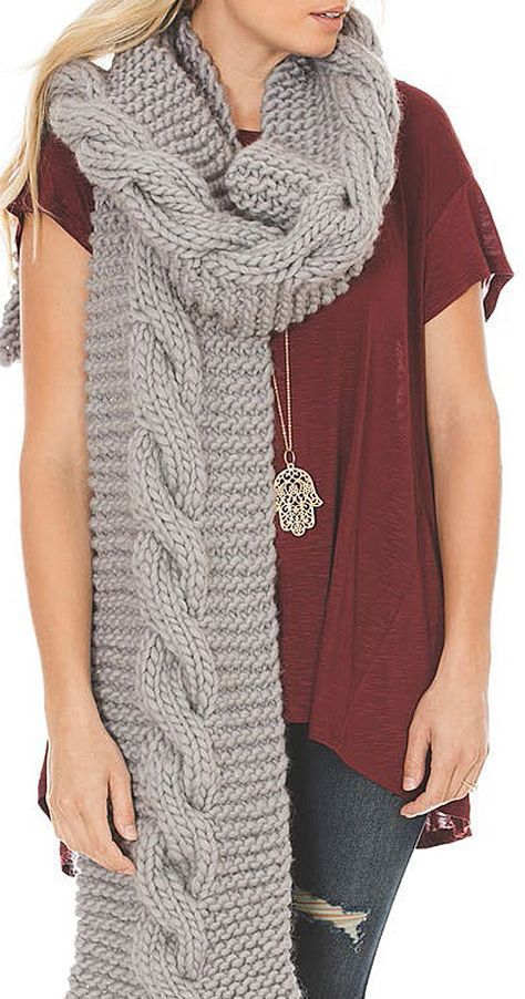 Free Knitting Pattern For Audrey Super Scarf Easy Scarf Features A