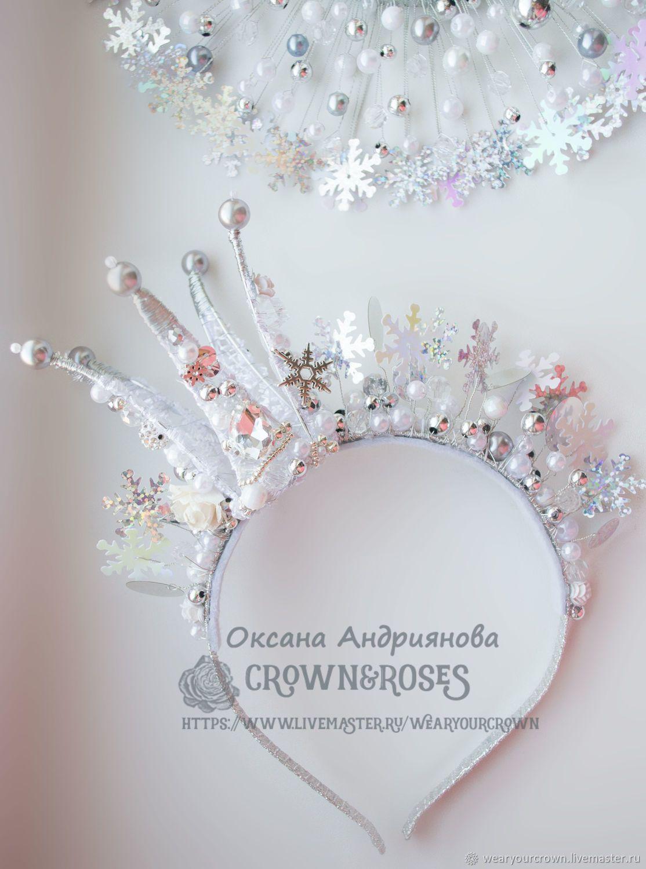 ee93bbf15910 Купить Новогодняя Корона в Серебре.Корона Снежной королевы.Снежинки,новый  год в интернет магазине на Ярмарке Мастеров