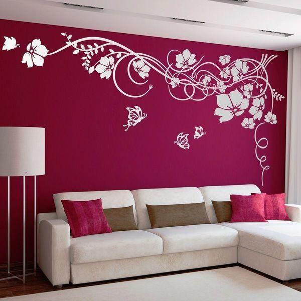 Gran Floral Con Mariposas Vinilos Decorativos Hogar Room Paint Designs Wall Design Wall Paint Designs Designer walls for living room