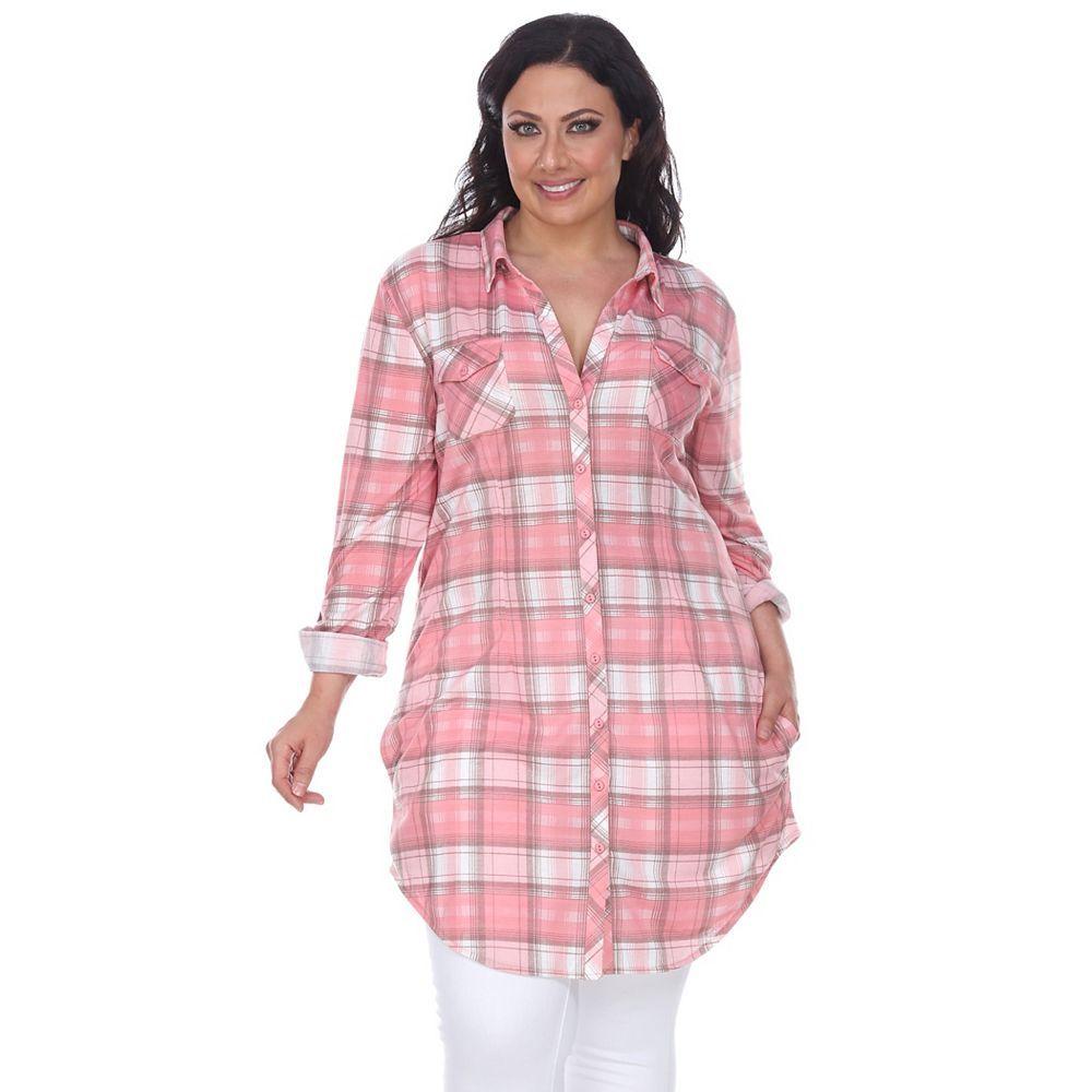 Plus size womens flannel shirt  White Mark Plus Size White Mark Plaid Flannel Tunic  Flannel tunic