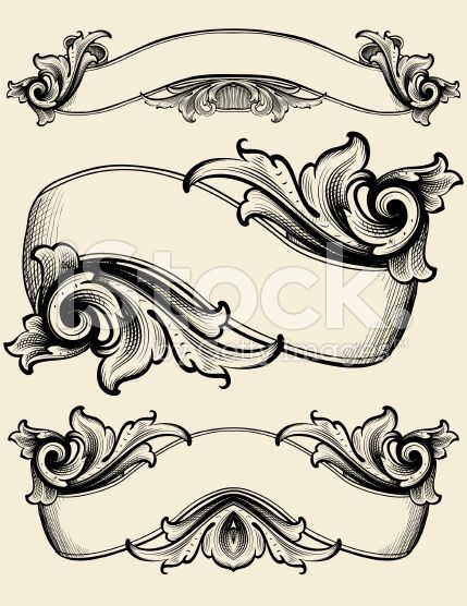 Designed by a hand engraver. Elaborate ribbon banners with ...