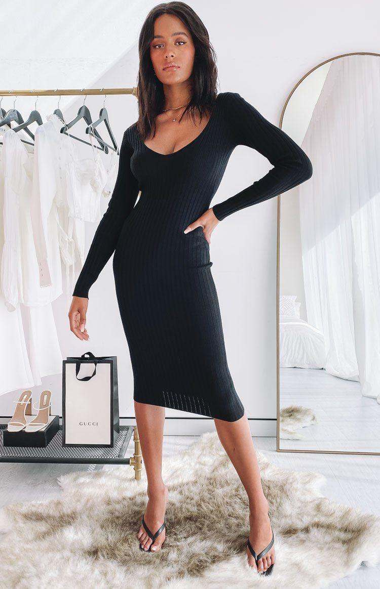 Ripple Knit Dress Black In 2021 Long Sleeve Fitted Dress Black Bodycon Dress Long Sleeve Long Sleeve Bodycon Midi Dress [ 1164 x 750 Pixel ]