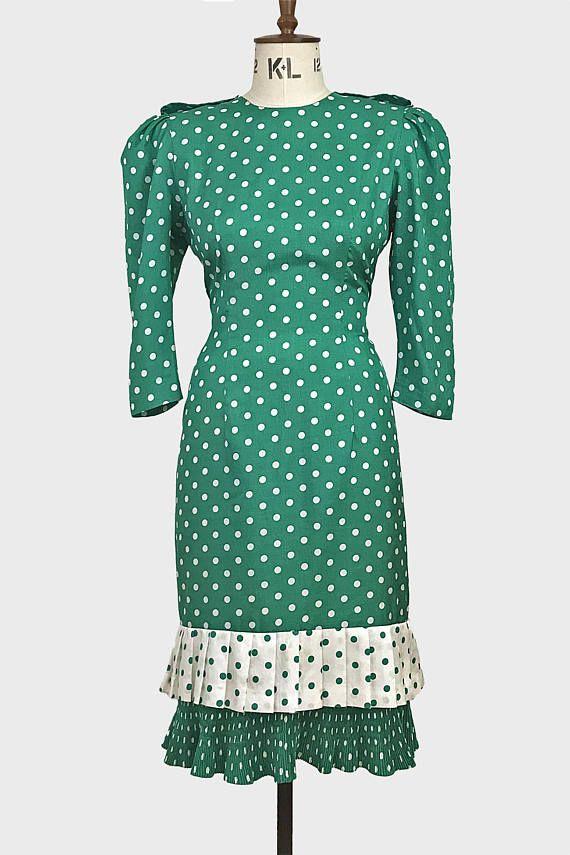 vintage green white polka dot 80s dress. drop waist pleat ...