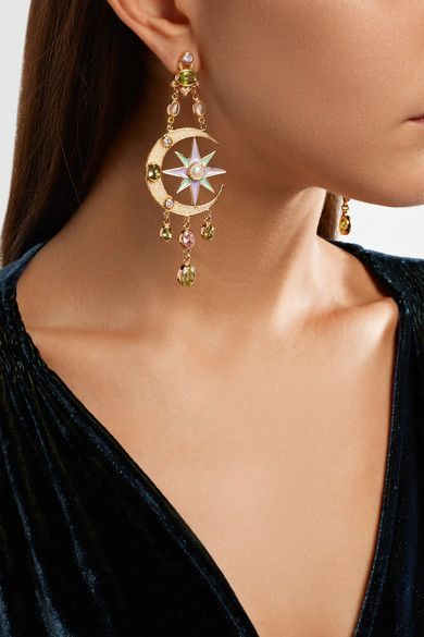 2e8219dd6 Percossi Papi - Gold-plated, Enamel And Multi-stone Earrings - Green