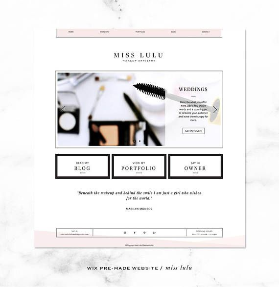 Wix Website Template Lulu Makeup Artistry Incl Logo And Etsy Wix Website Templates Wix Templates Wix Website