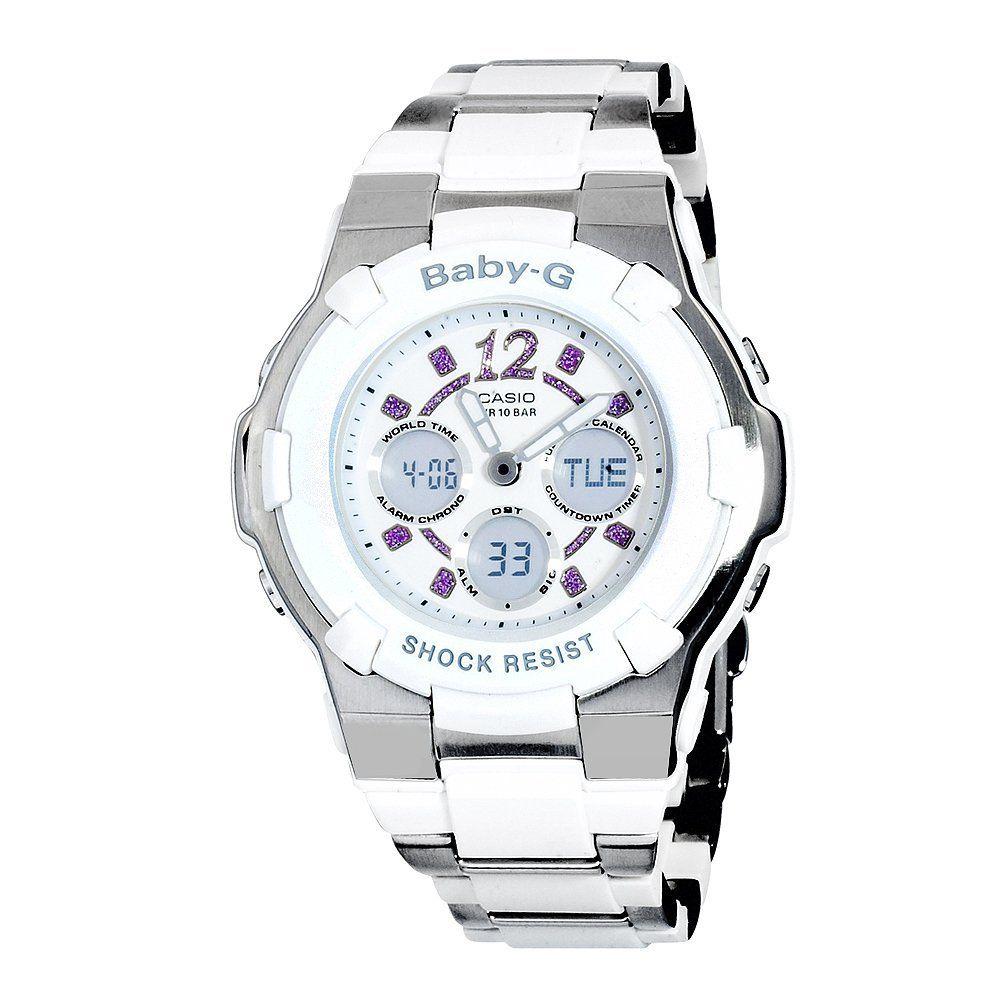 Casio Womens Bga112c 7b Baby G White And Silver Tone Rhinestone Bga 190 1b Accented Watch Wrist Watches