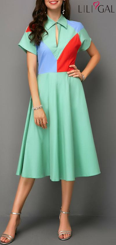 ef8cb96d7d0 Mint Green Short Sleeve Turndown Collar Dress  liligal  dresses  womenswear   womensfashion