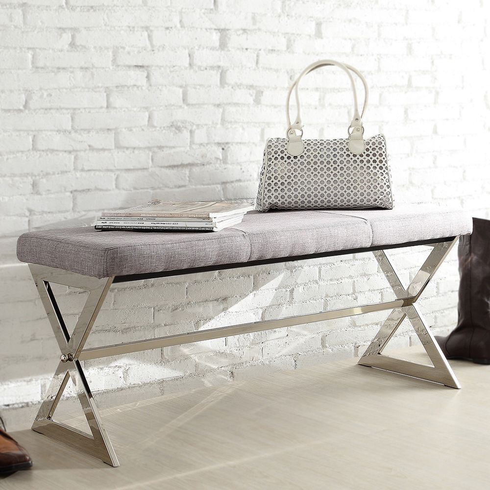 INSPIRE Q Southport Grey Linen 40-inch Metal Bench - Overstock Shopping -  Great