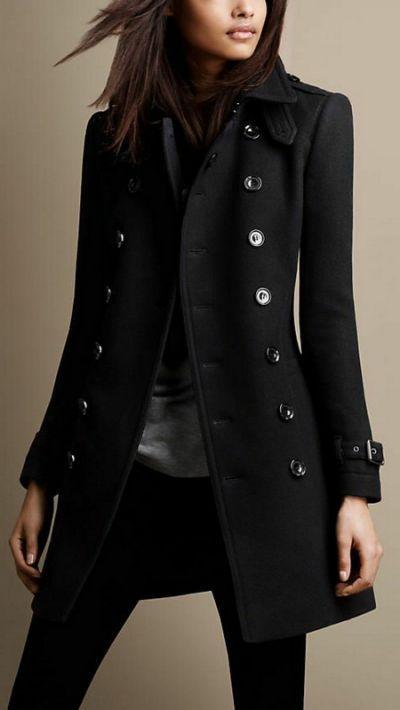 burberry black wool coat women - Yahoo Search Results Schwarzer Mantel  Damen, Wollmantel Damen Schwarz 3f2f3fa9d7