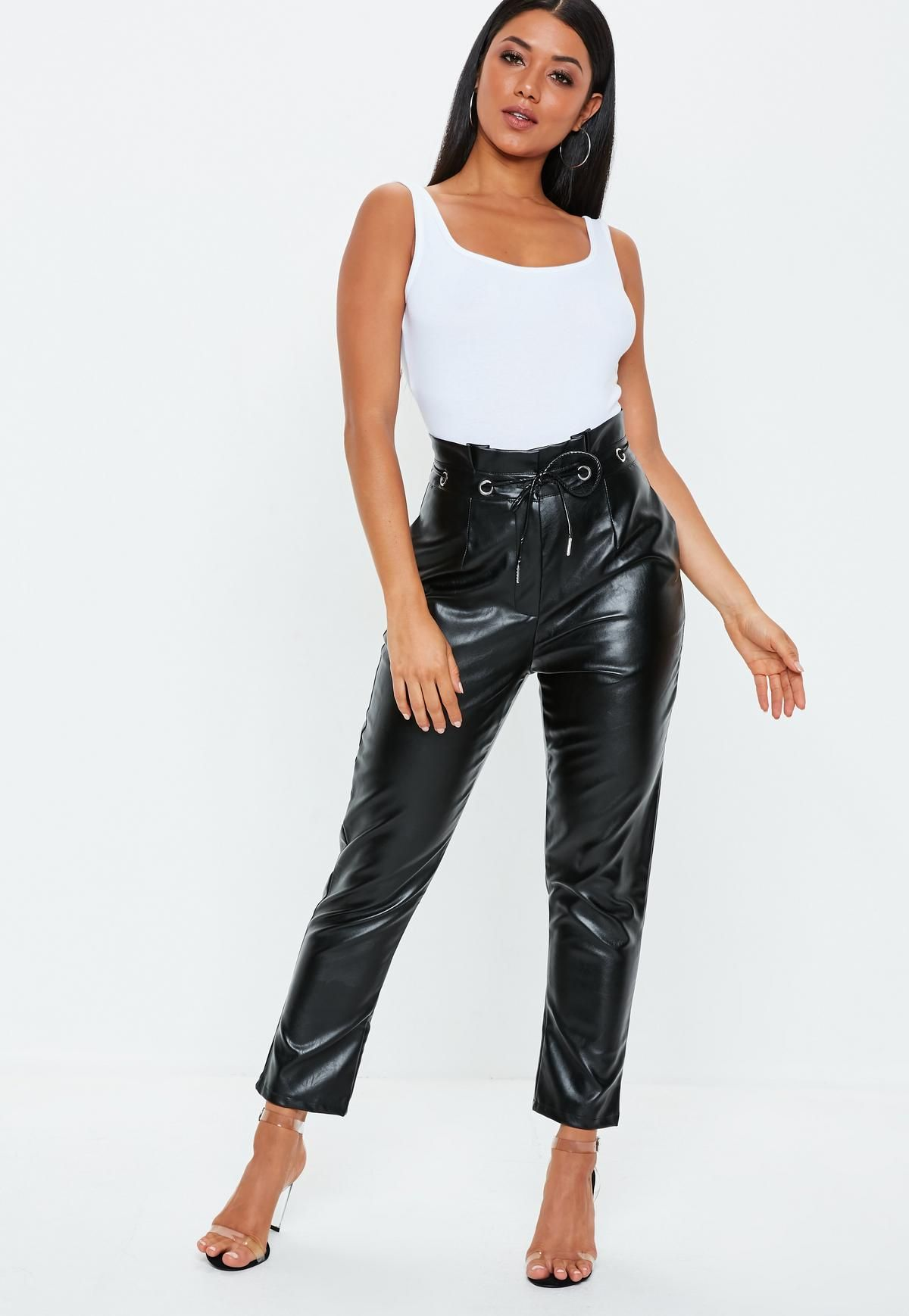 Black Paperbag Tie Waist Faux Leather Pants   Missguided   latex ... 435a18cc26