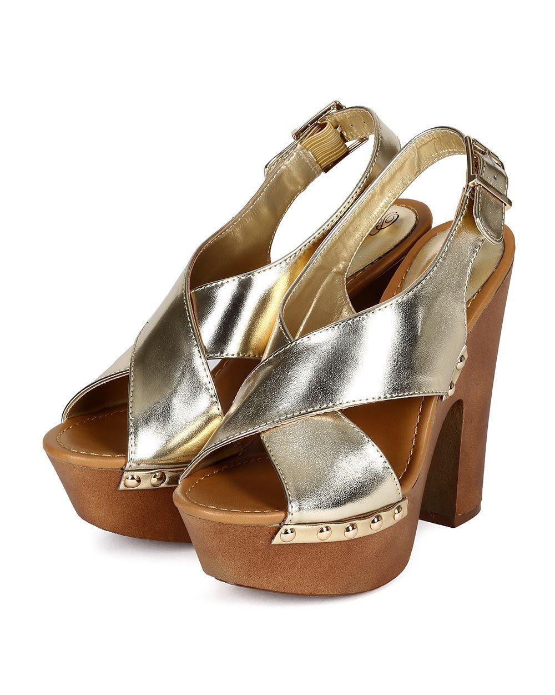 e1860ce6ff7 Women Breckelles Rudy-13 Metallic Open Toe Slingback Platform Chunky Sandal