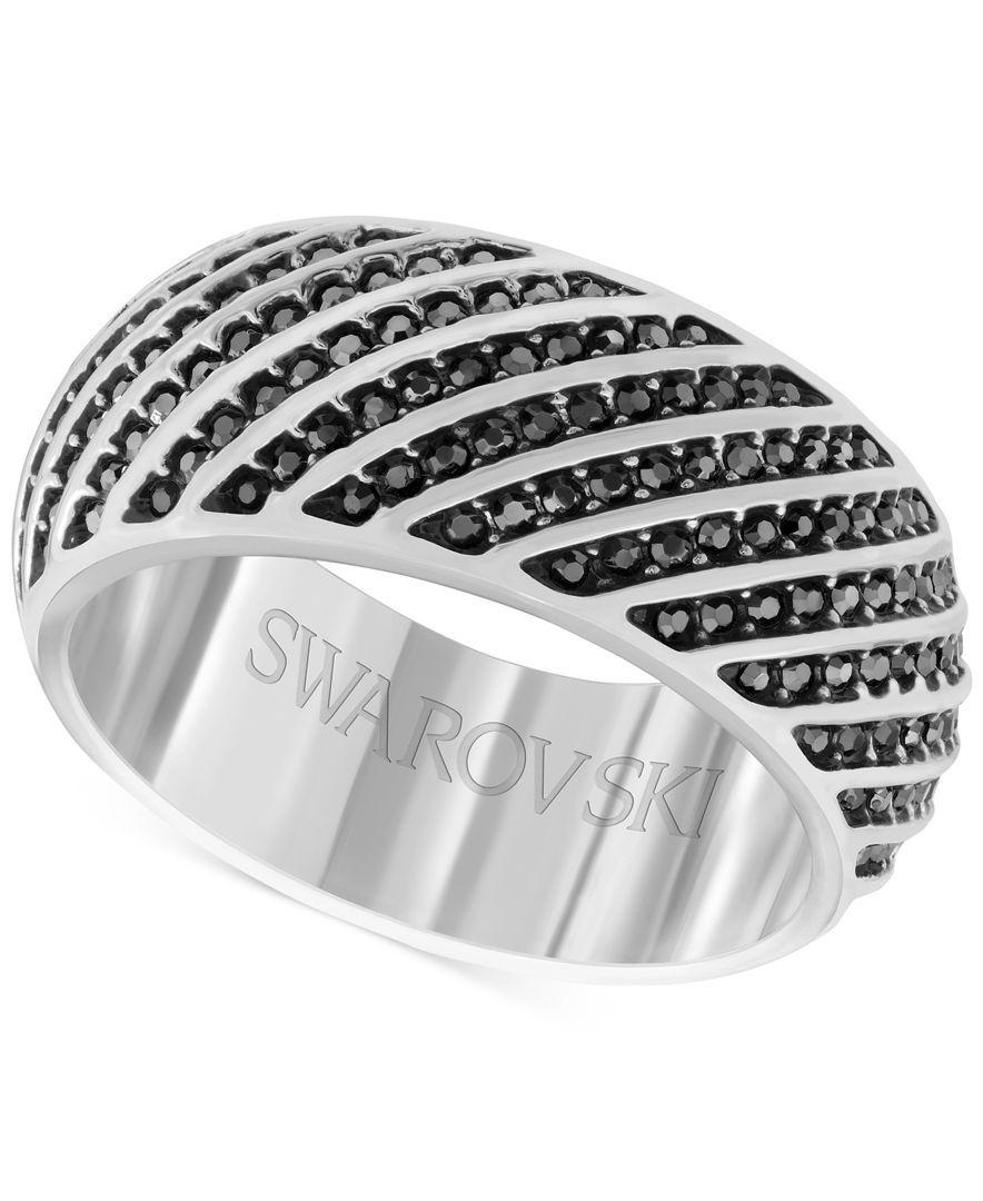 520e1b386f55 Swarovski Men s Silver-Tone Hematite Crystal Ring