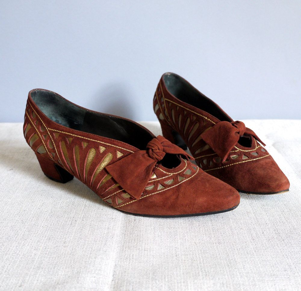 vintage Art Deco Margret Jerrold leather shoes heels pumps Size 6.. $148.00, via Etsy.
