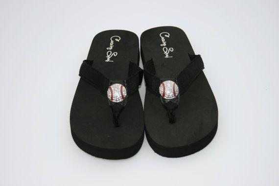 Women S Black Rhinestone Baseball Mom Bling Flip Flops Cocomo Soul Size 6 7 8 9 10 On Etsy 17 99 Bling Flip Flops Black Rhinestone Baseball Mom