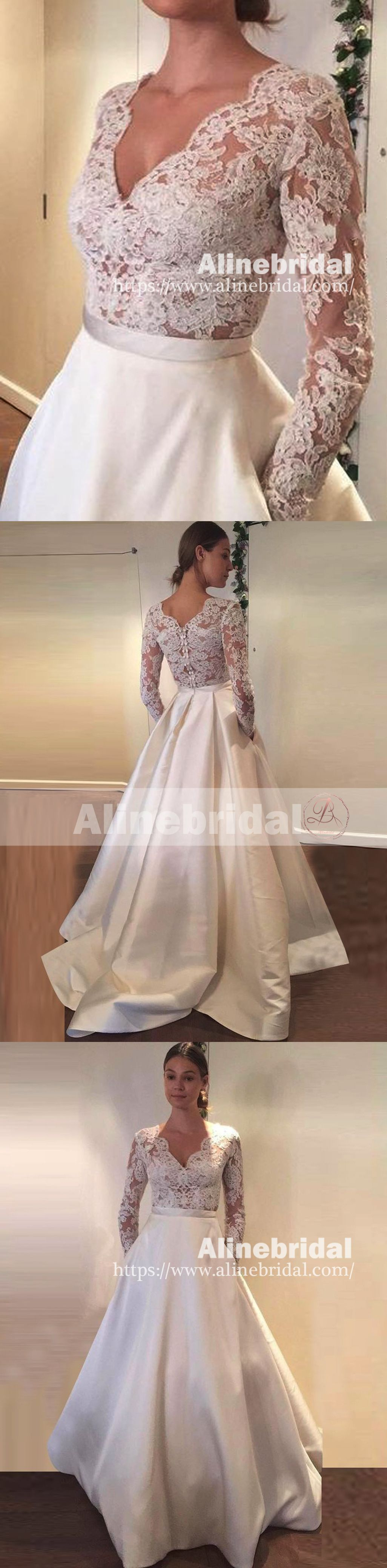Vintage lace top ivory satin long sleeves wedding dresses with