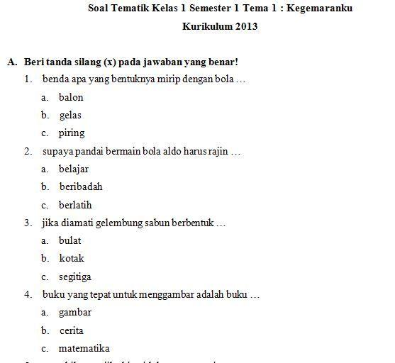 Dokumen Download Kumpulan Soal Sd Kelas 1 Tema 2 Kegemaranku Kurikulum 2013 Format Pdf Doc