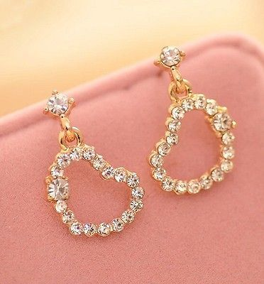 Free Shipping ! 9K Yellow  Gold Filled AAA CZ with Heart Shape Earring Stud E511