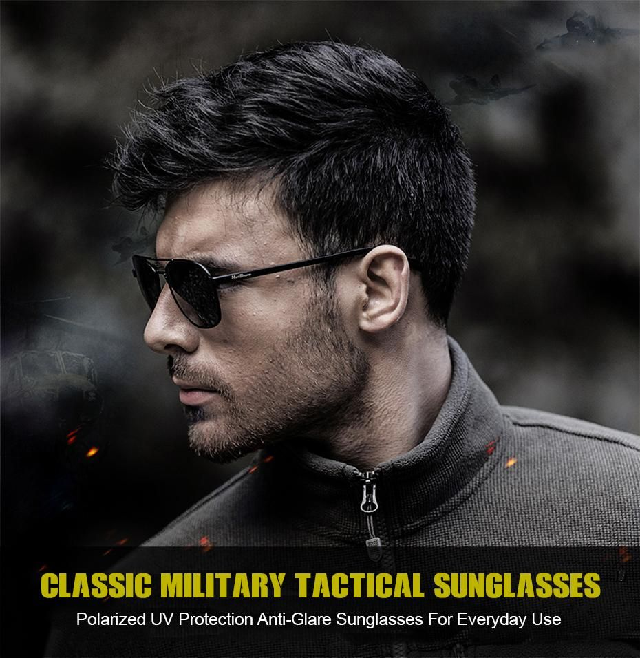 Mens Classic Tactical Style Polarized Military Sunglasses