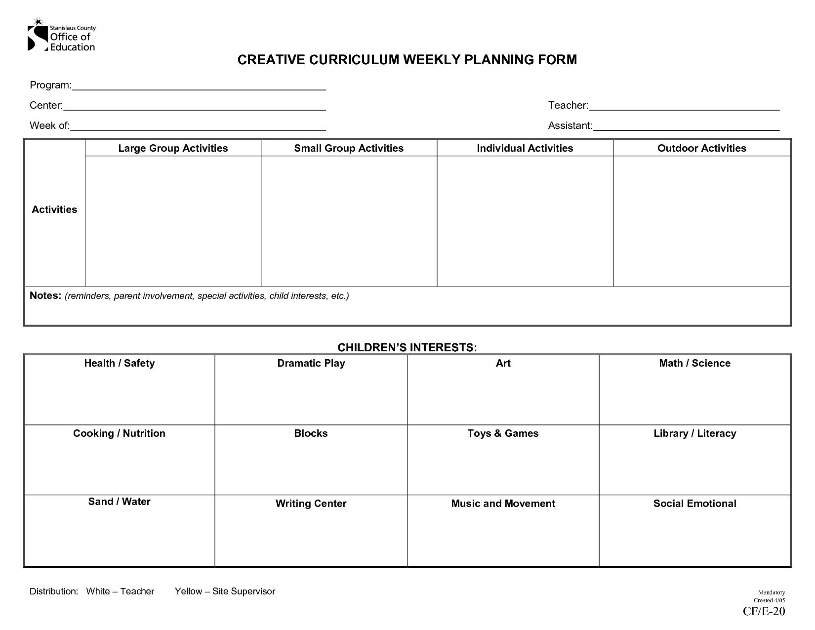 Creative Curriculum Weekly Plan