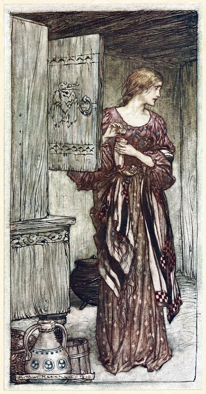 Sieglinde prepares Hundling's draught for the night.    Arthur Rackham, from The Rhinegold & the Valkyrie, by Richard Wagner, London, New York, 1910.