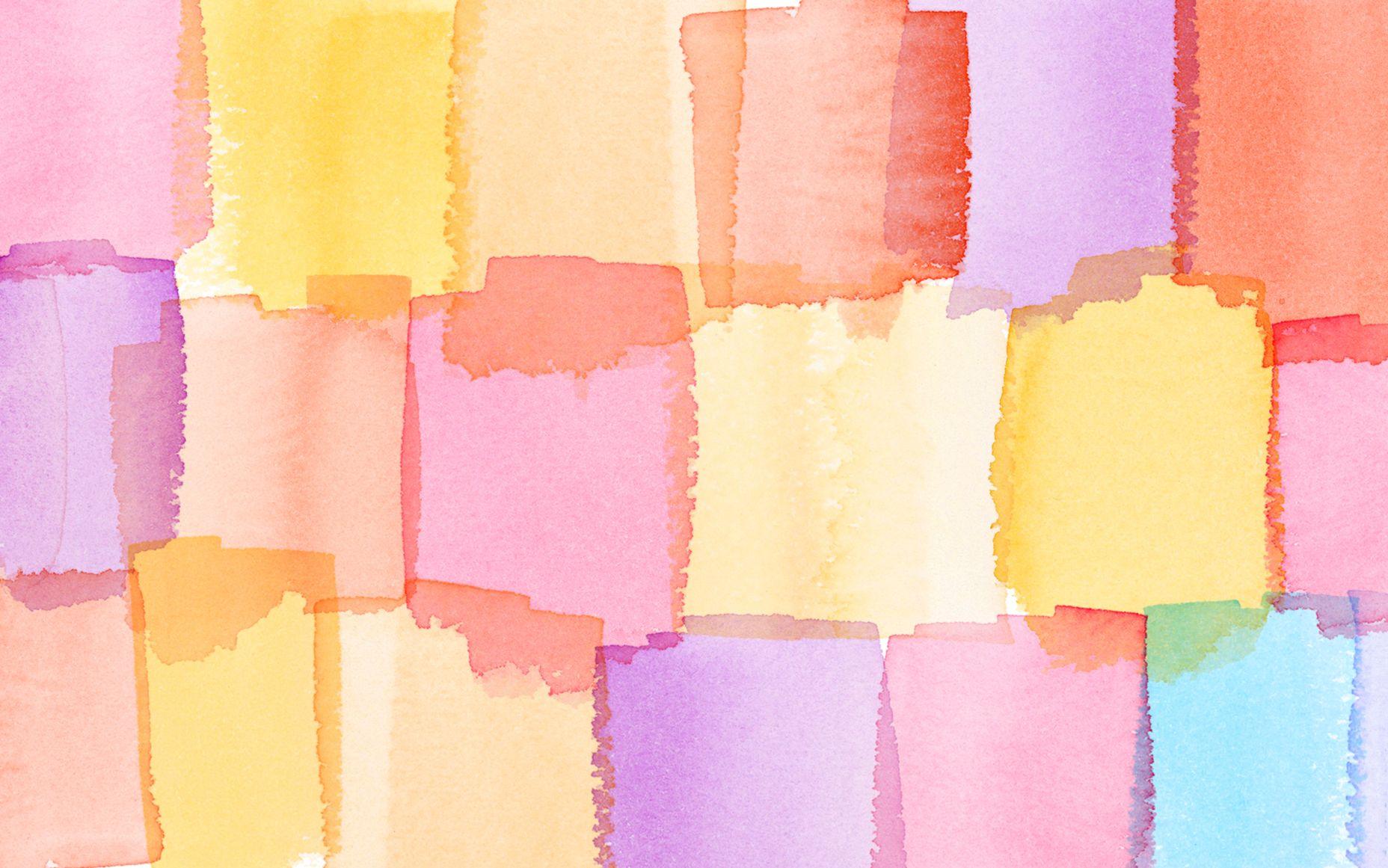 Pink Lilac Aqua Yellow Watercolour Blocks Desktop Wallpaper Background