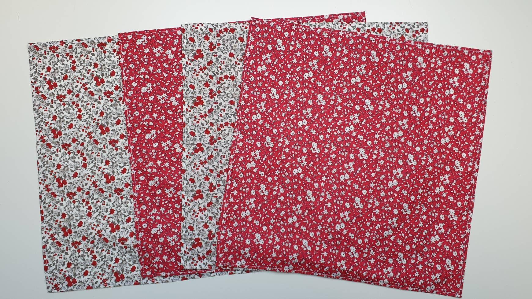 Lot 4 Serviettes De Table Liberty Rouge Et Blanc Petite Fleur Serviette Lavable En Coton Zero Dechet Quilts Blanket