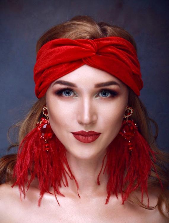 ELLIE Classic Red Velvet Turban Twist Headband Women turban Red headwrap  turban headband d1ca154229a