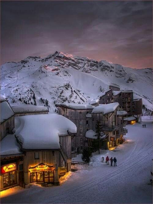 Winter night,Trois Vallee, French Alps...