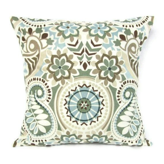 18x18 Throw Pillow Cover Paisley Floral Blue Brown Ivory Aqua Seafoam Tan Sage Flowers Home ...