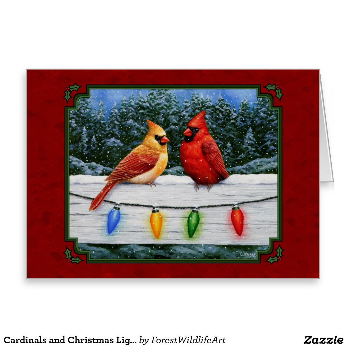 cardinals and christmas lights red card