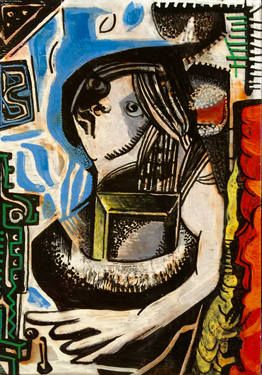 "Saatchi Art Artist Kouhei Hayashi; Painting, ""絵を抱く女"" #art"