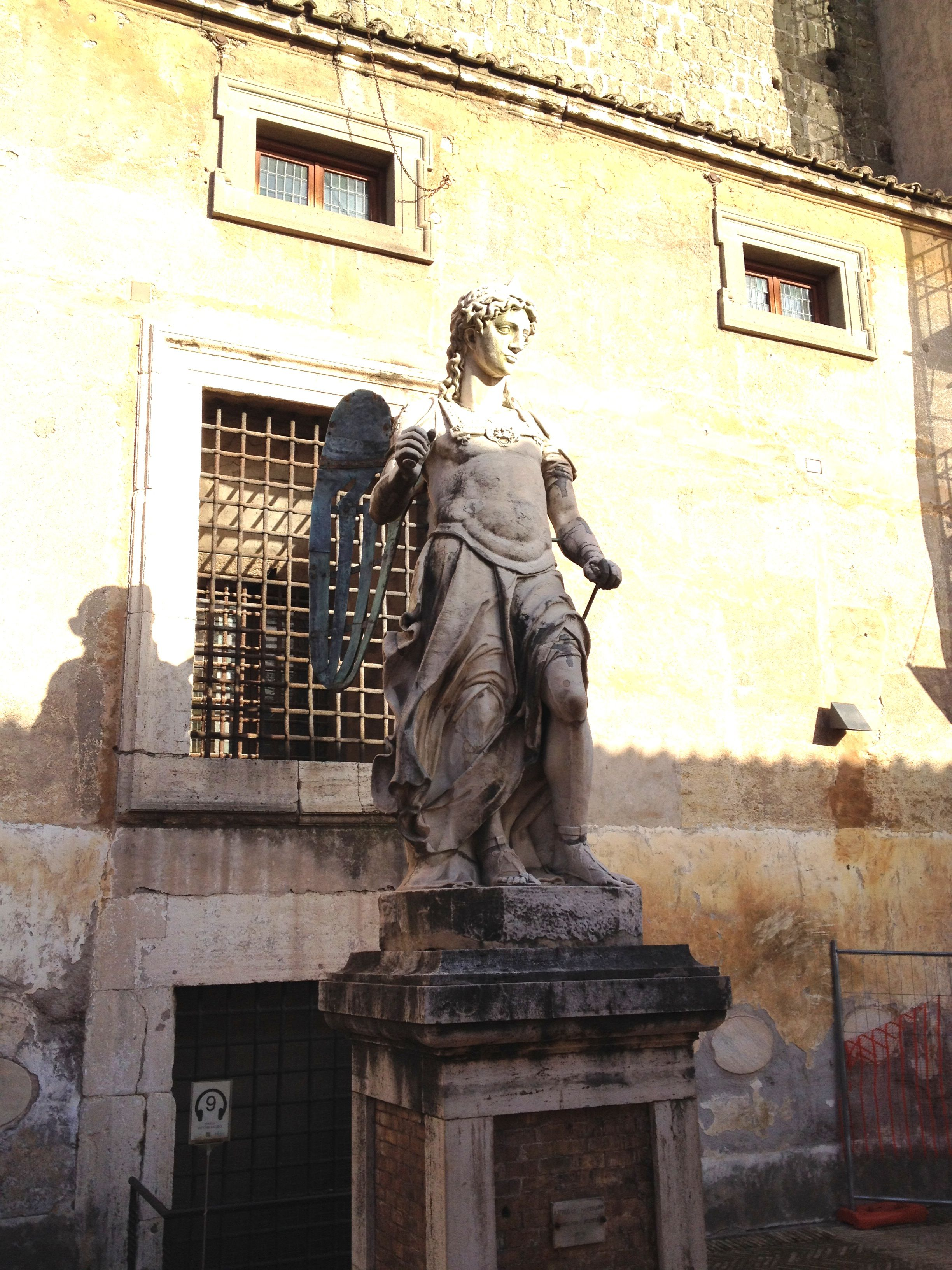 One of the two statutes of the Archangel Michael in Castel Sant'Angelo.