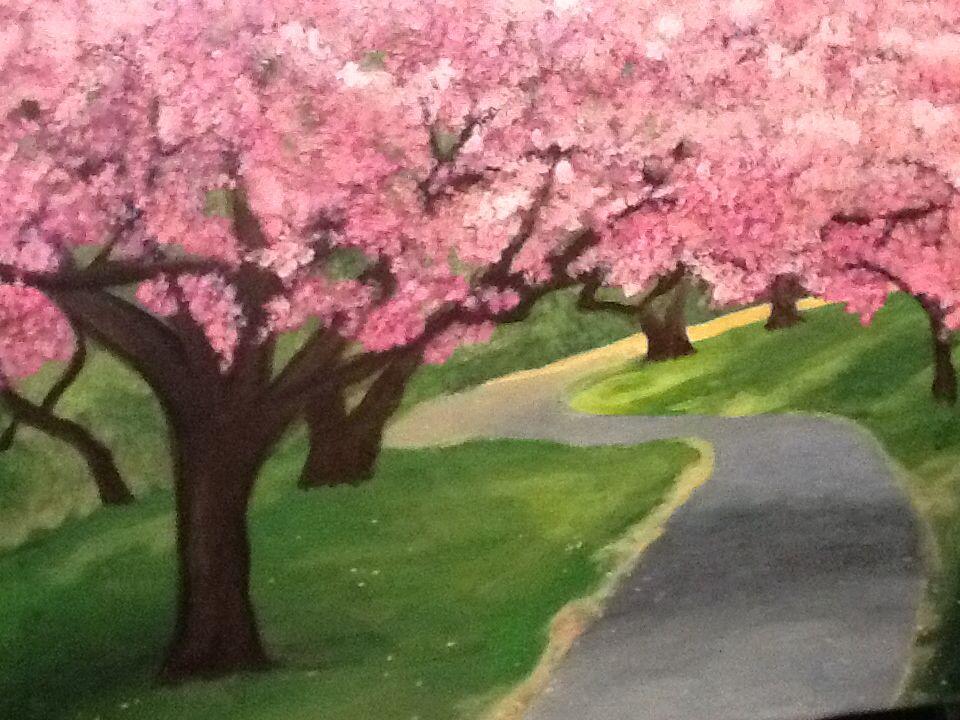 Acrylic Cherry Blossom Tree Painting Tree Painting Acrylic Painting Flowers Cherry Blossom Painting