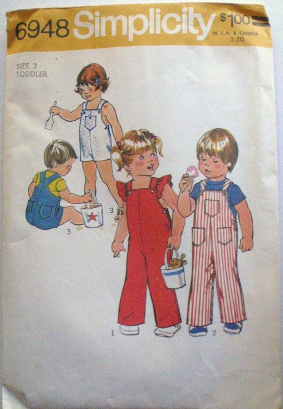 Simplicity 6948 Toddler\'s Overalls Vintage Sewing | Patterns ...