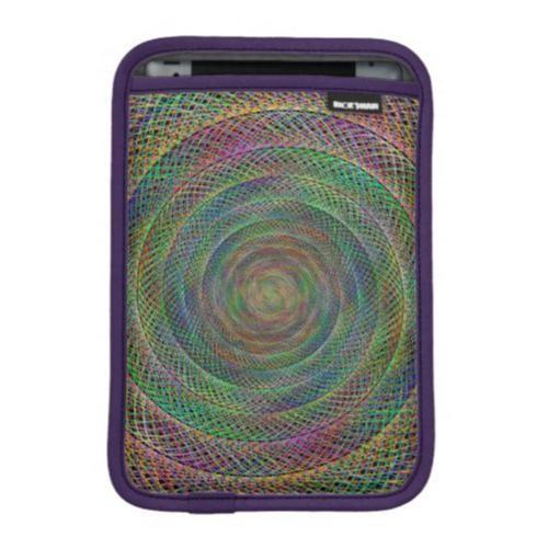 Multicolor fractal spiral iPad mini sleeve $50.80 *** Multicolor woven spiral fractal design - iPad sleeve