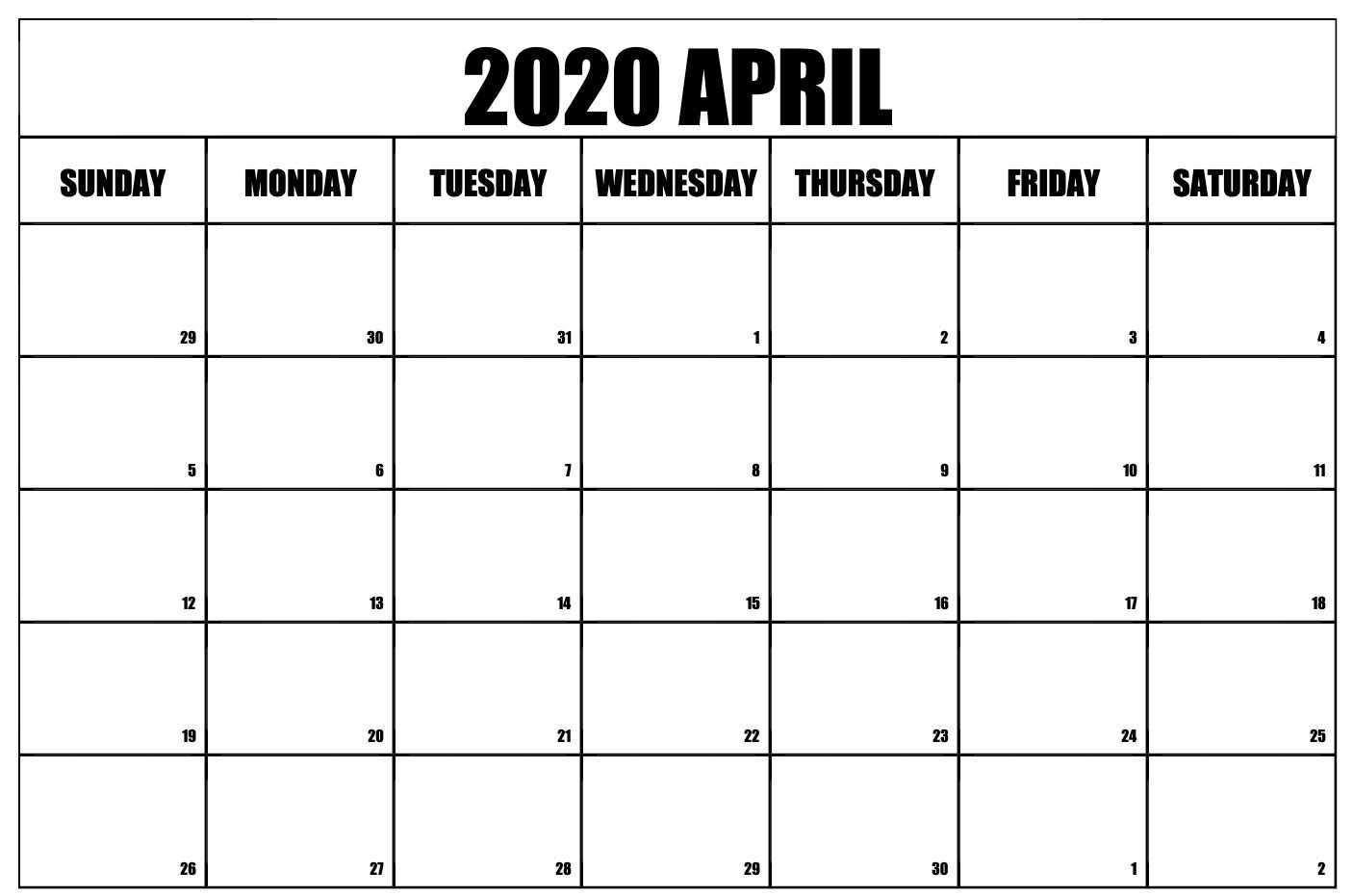 April 2020 Calendar Printable Template With Holidays July