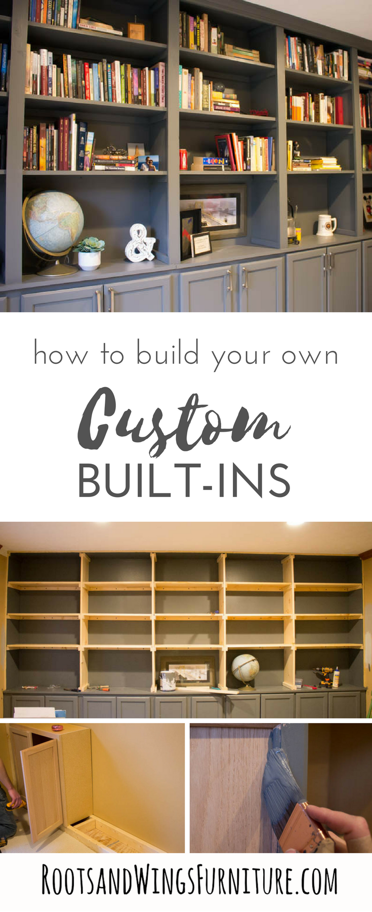 Diy Wall To Wall Book Cases Use Kitchen Cabinets As A Base And Build A Whole Wall Of Built Ins For You Bookshelves Built In Office Built Ins Built In Bookcase