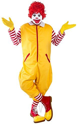 ronald mcdonald halloween costume yellow clown costume fast food restaurant costumes