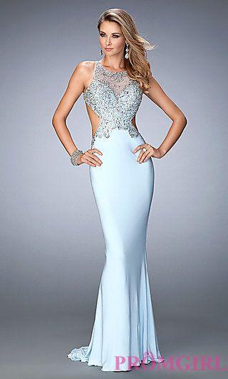 Open Back Embellished Floor Length Jersey Gigi Prom Dress at ...